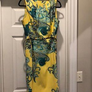 Yellow paisley print dress.